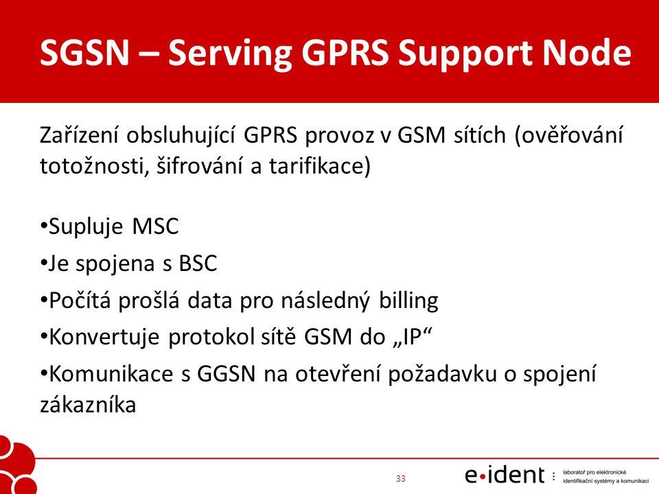 SGSN – Serving GPRS Support Node Zařízení obsluhující GPRS provoz v GSM sítích (ověřování totožnosti, šifrování a tarifikace) Supluje MSC Je spojena s