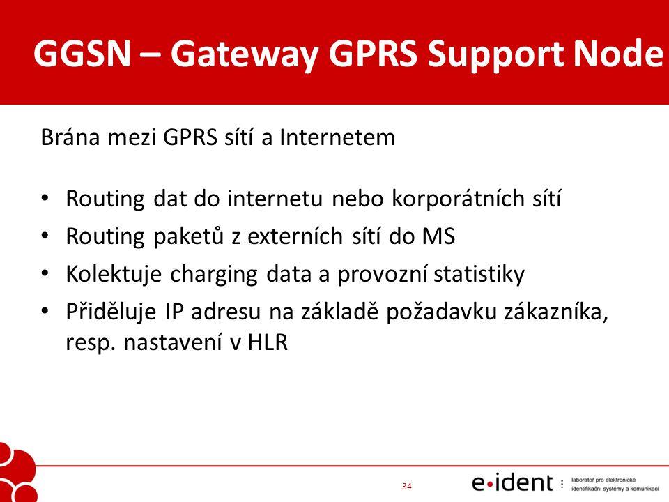 GGSN – Gateway GPRS Support Node Brána mezi GPRS sítí a Internetem Routing dat do internetu nebo korporátních sítí Routing paketů z externích sítí do