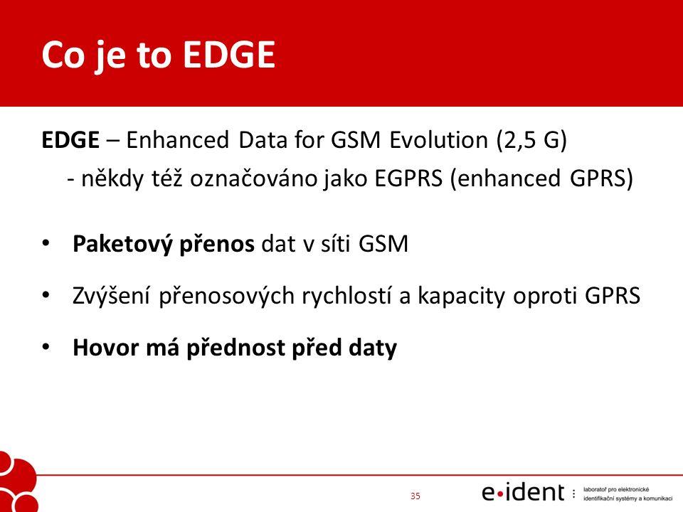 Co je to EDGE EDGE – Enhanced Data for GSM Evolution (2,5 G) - někdy též označováno jako EGPRS (enhanced GPRS) Paketový přenos dat v síti GSM Zvýšení