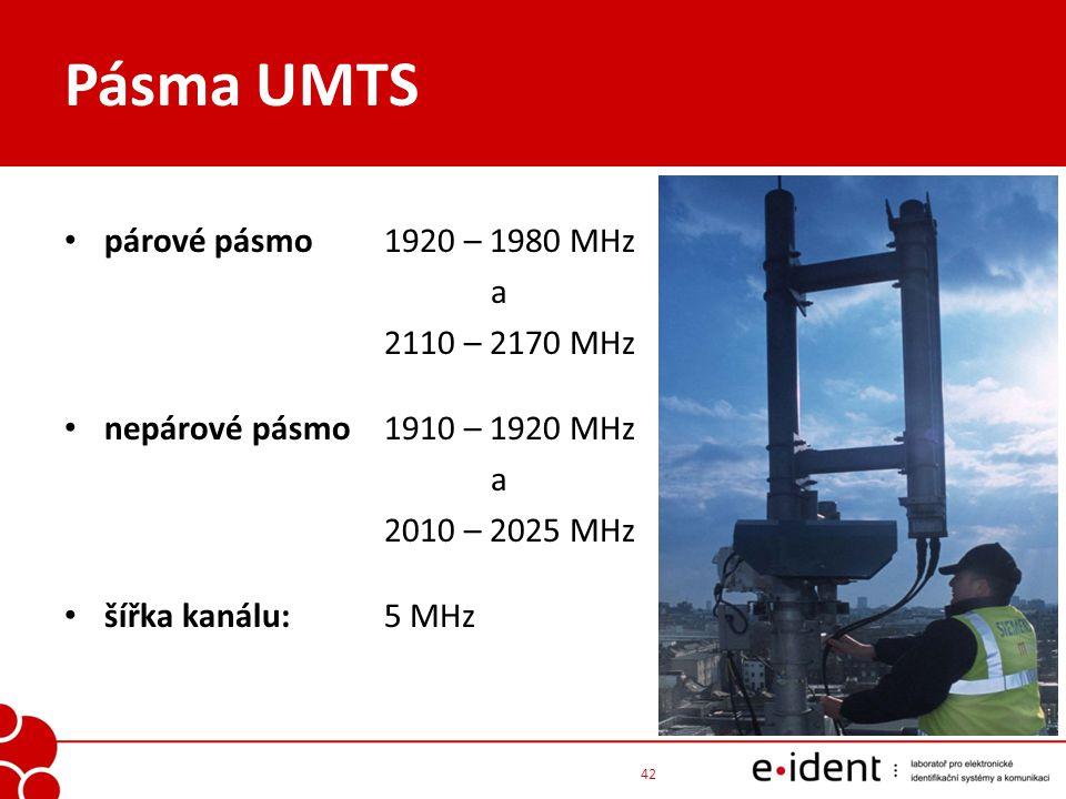 Pásma UMTS párové pásmo1920 – 1980 MHz a 2110 – 2170 MHz nepárové pásmo1910 – 1920 MHz a 2010 – 2025 MHz šířka kanálu:5 MHz 42