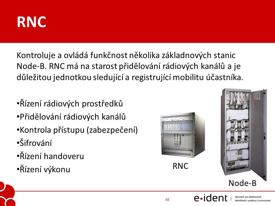 RNC Kontroluje a ovládá funkčnost několika základnových stanic Node-B. RNC má na starost přidělování rádiových kanálů a je důležitou jednotkou sledují