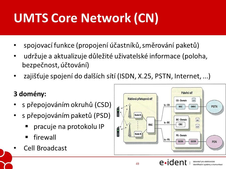 UMTS Core Network (CN) spojovací funkce (propojení účastníků, směrování paketů) udržuje a aktualizuje důležité uživatelské informace (poloha, bezpečno
