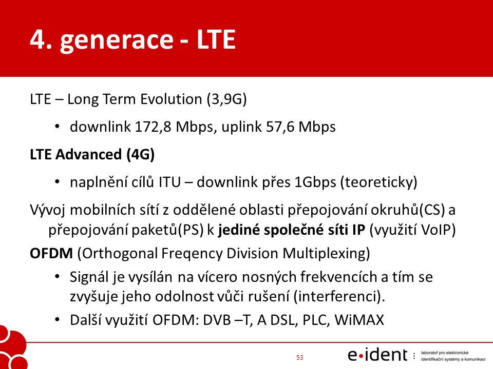 4. generace - LTE LTE – Long Term Evolution (3,9G) downlink 172,8 Mbps, uplink 57,6 Mbps LTE Advanced (4G) naplnění cílů ITU – downlink přes 1Gbps (te