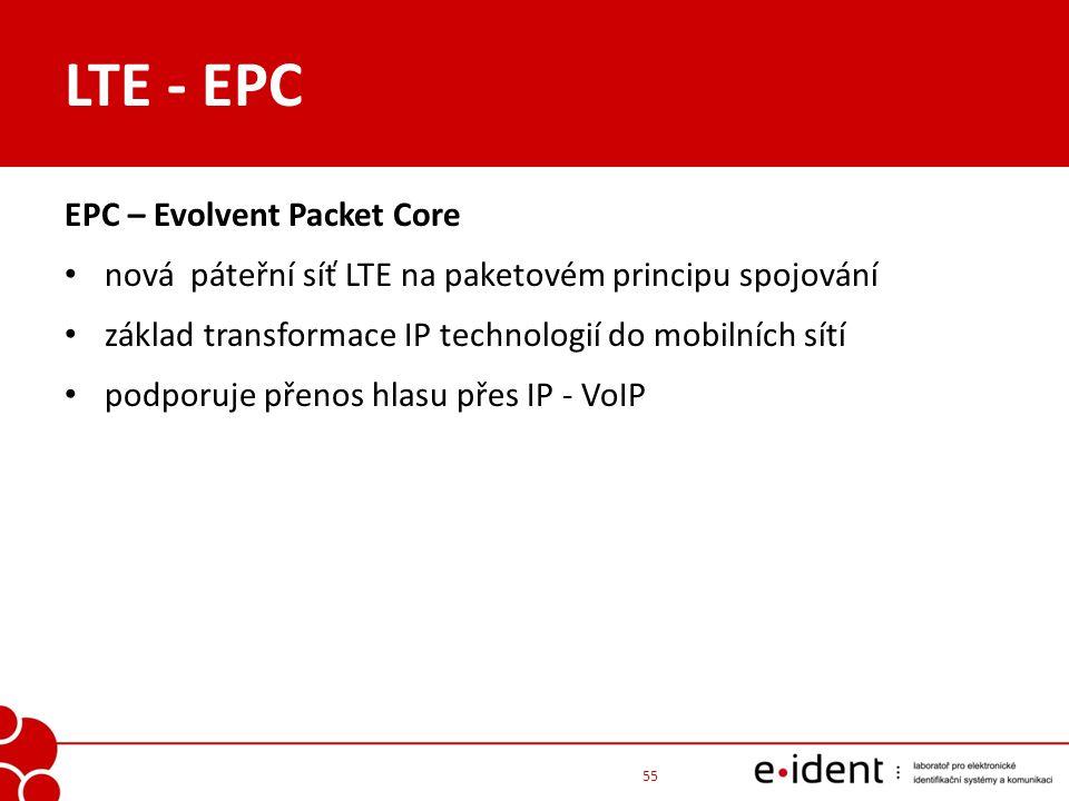 LTE - EPC EPC – Evolvent Packet Core nová páteřní síť LTE na paketovém principu spojování základ transformace IP technologií do mobilních sítí podporu