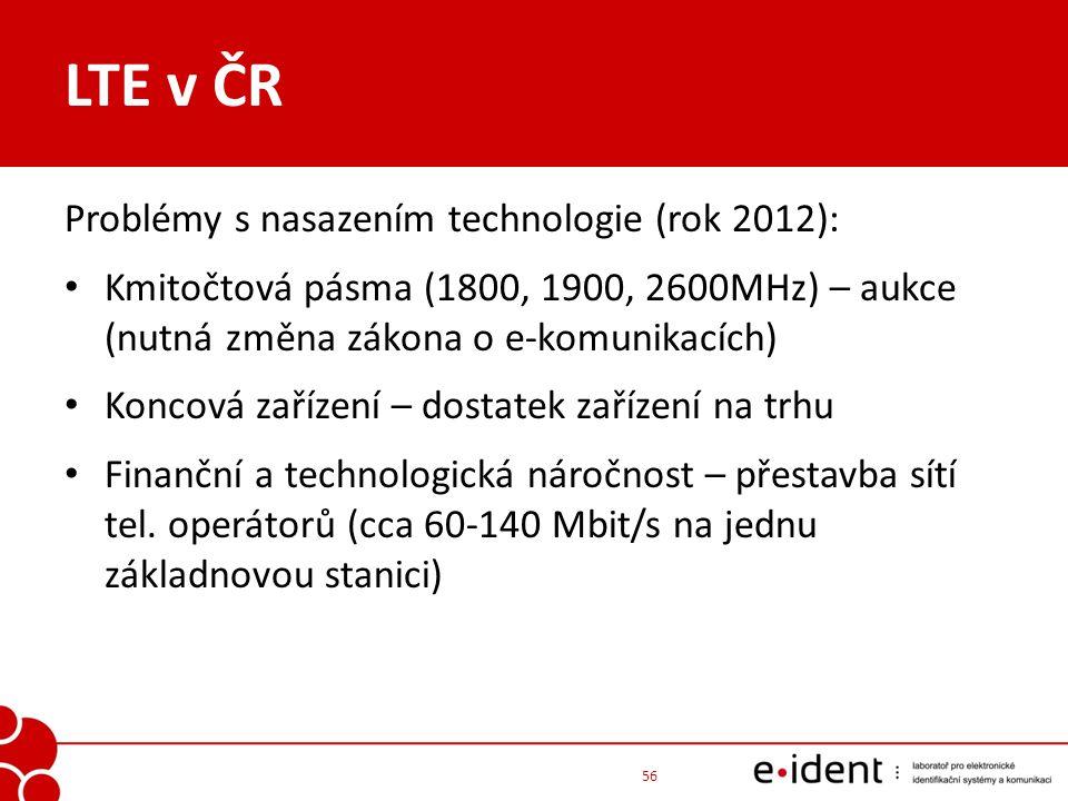 LTE v ČR Problémy s nasazením technologie (rok 2012): Kmitočtová pásma (1800, 1900, 2600MHz) – aukce (nutná změna zákona o e-komunikacích) Koncová zař