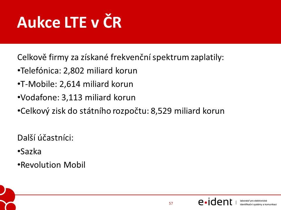 Aukce LTE v ČR 57 Celkově firmy za získané frekvenční spektrum zaplatily: Telefónica: 2,802 miliard korun T-Mobile: 2,614 miliard korun Vodafone: 3,11