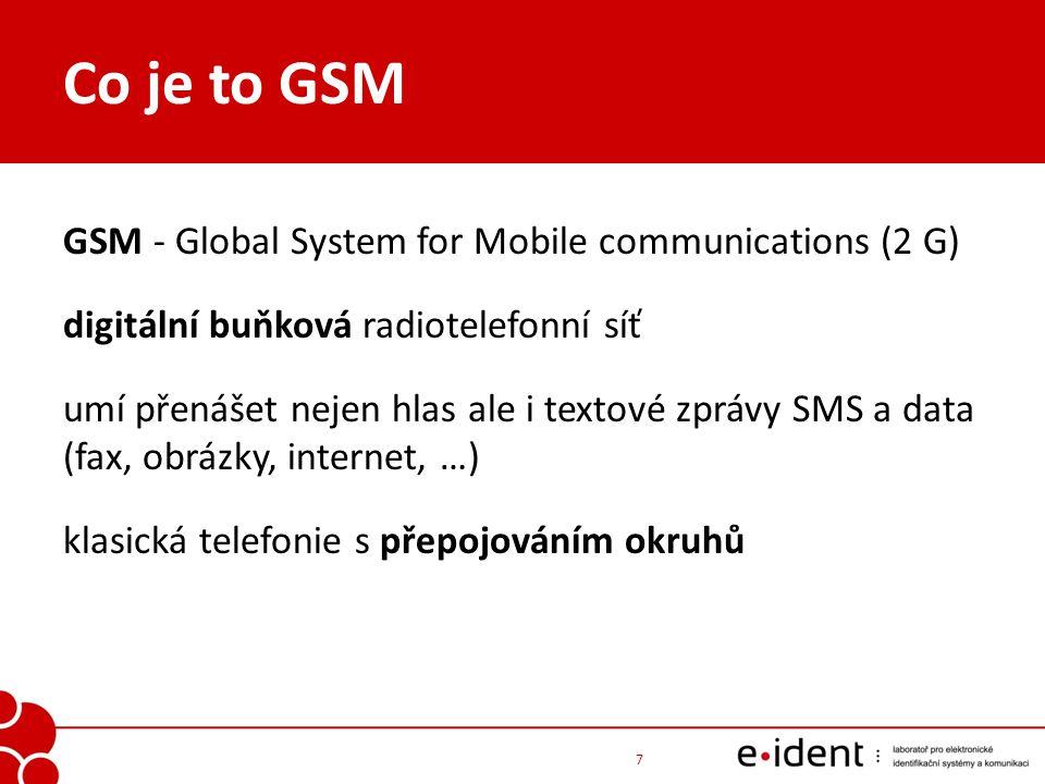 Co je to GSM GSM - Global System for Mobile communications (2 G) digitální buňková radiotelefonní síť umí přenášet nejen hlas ale i textové zprávy SMS