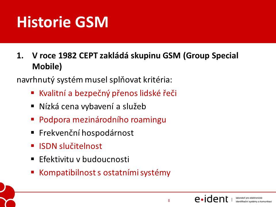 Historie GSM 2.1988 - CEPT začal tvořit GSM specifikace 3.1989 - byla odpovědnost za standardizaci tohoto systému přesunuta na Evropský telekomunikační normalizační institut (ETSI) 4.1990 byla specifikace Phase 1 sítě GSM prohlášena standardem 5.1992 - první funkční GSM operátor Oy Radiolinja Ab ve Finsku 6.1996 – první GSM síť v ČR (Eurotel) 7.1999 – první GPRS síť v ČR (Eurotel) 9