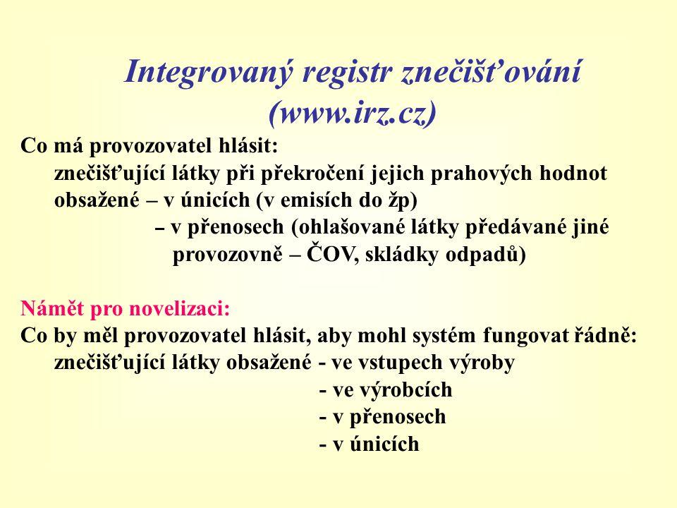 Integrovaný registr znečišťování (www.irz.cz) Co má provozovatel hlásit: znečišťující látky při překročení jejich prahových hodnot obsažené – v únicíc