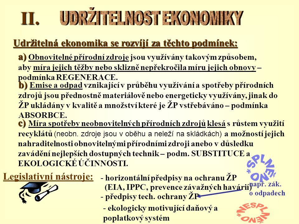 II. Udržitelná ekonomika se rozvíjí za těchto podmínek: a) a) Obnovitelné přírodní zdroje jsou využívány takovým způsobem, aby míra jejich těžby nebo