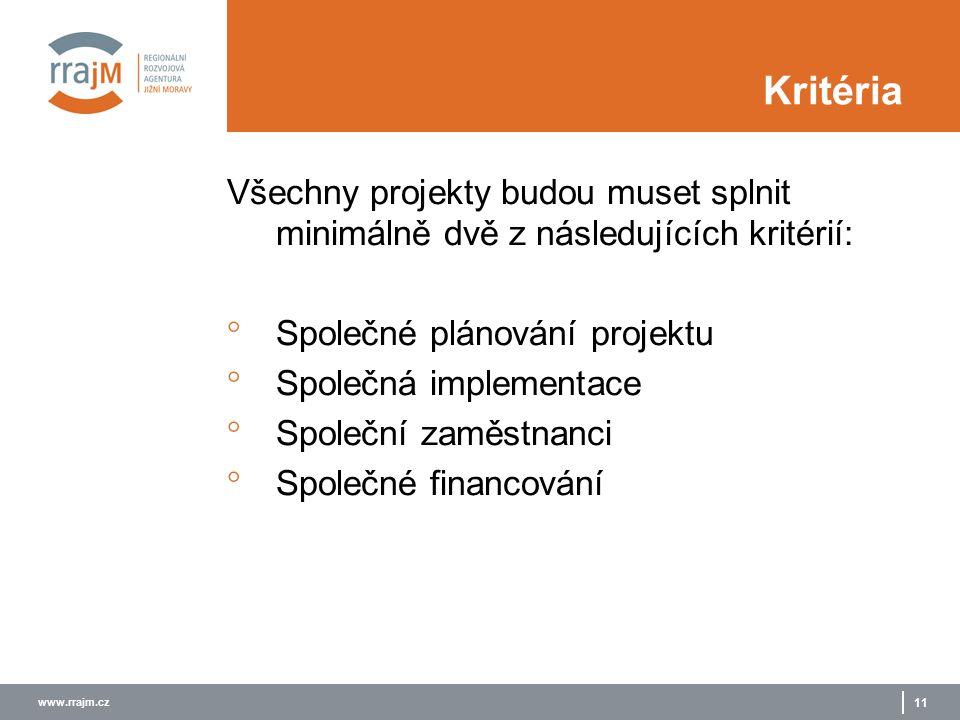 www.rrajm.cz 11 Kritéria Všechny projekty budou muset splnit minimálně dvě z následujících kritérií:  Společné plánování projektu  Společná implementace  Společní zaměstnanci  Společné financování