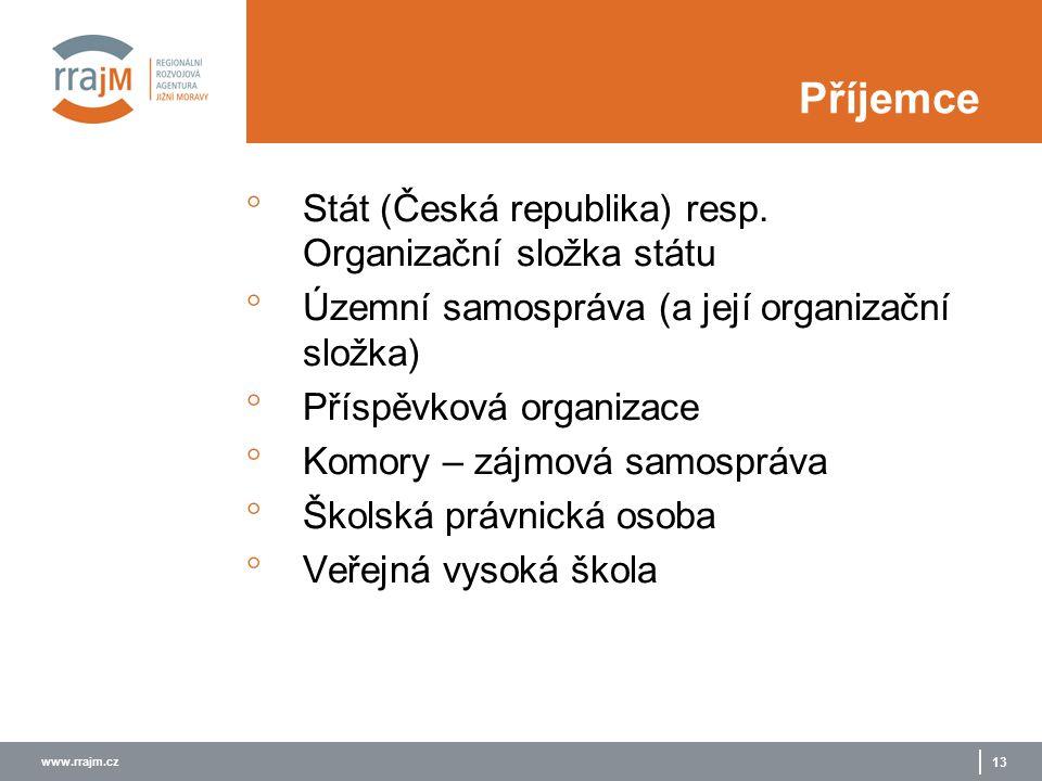 www.rrajm.cz 13 Příjemce  Stát (Česká republika) resp.