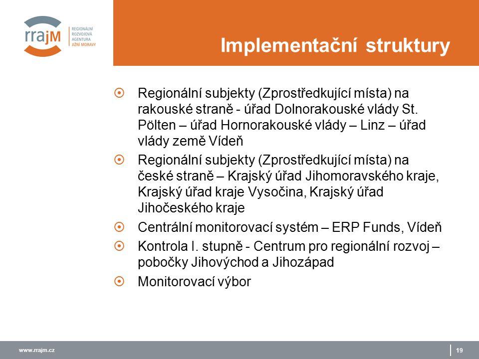 www.rrajm.cz 19 Implementační struktury  Regionální subjekty (Zprostředkující místa) na rakouské straně - úřad Dolnorakouské vlády St.