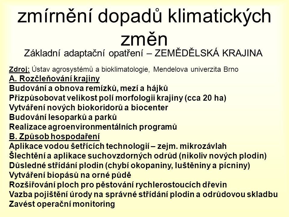 zmírnění dopadů klimatických změn Základní adaptační opatření – ZEMĚDĚLSKÁ KRAJINA Zdroj: Ústav agrosystémů a bioklimatologie, Mendelova univerzita Brno A.