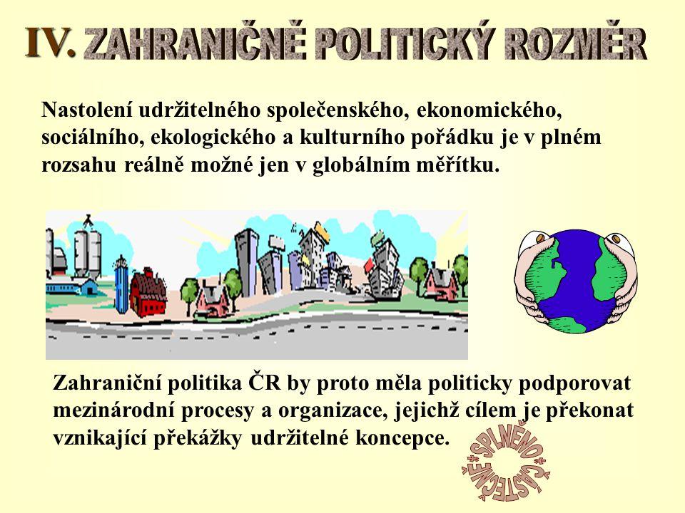 IV. Nastolení udržitelného společenského, ekonomického, sociálního, ekologického a kulturního pořádku je v plném rozsahu reálně možné jen v globálním