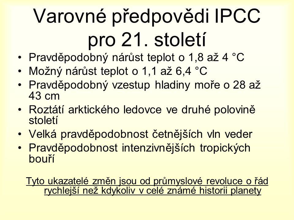 Varovné předpovědi IPCC pro 21.