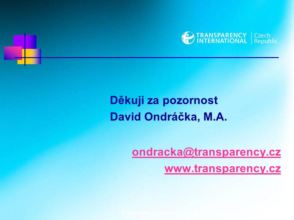 Transparency International - Czech Republic7 Děkuji za pozornost David Ondráčka, M.A.
