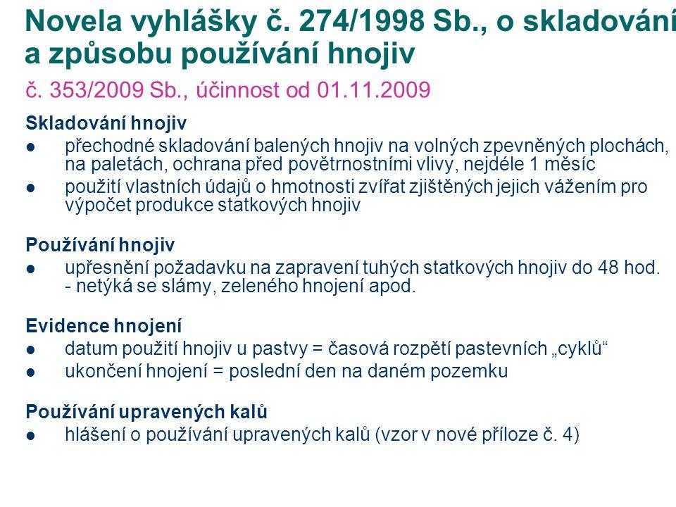 Novela vyhlášky č.474/2000 Sb., o stanovení požadavků na hnojiva č.