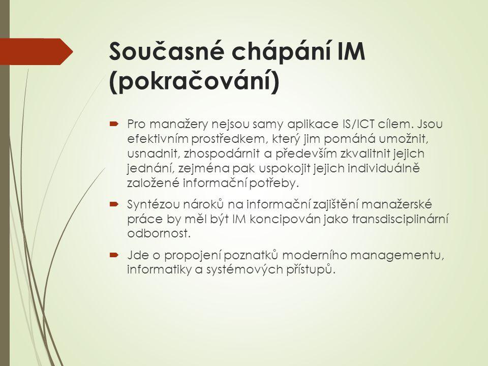 Současné chápání IM (pokračování)  Pro manažery nejsou samy aplikace IS/ICT cílem.