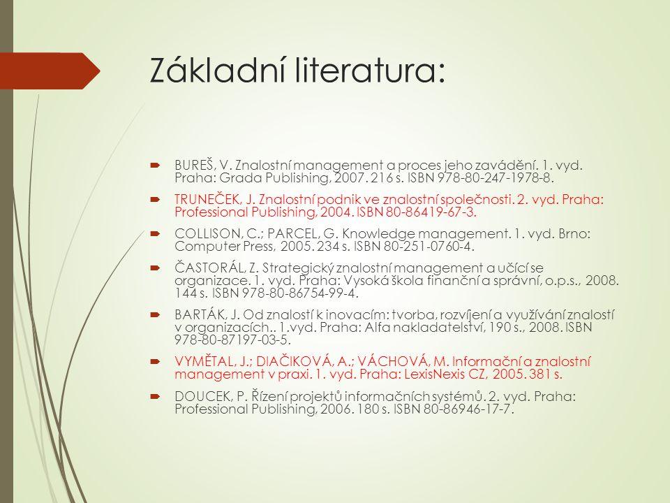 Základní literatura:  BUREŠ, V. Znalostní management a proces jeho zavádění.