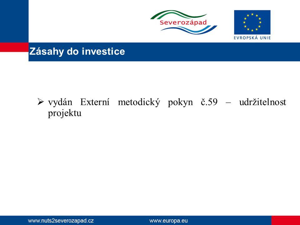  vydán Externí metodický pokyn č.59 – udržitelnost projektu Zásahy do investice