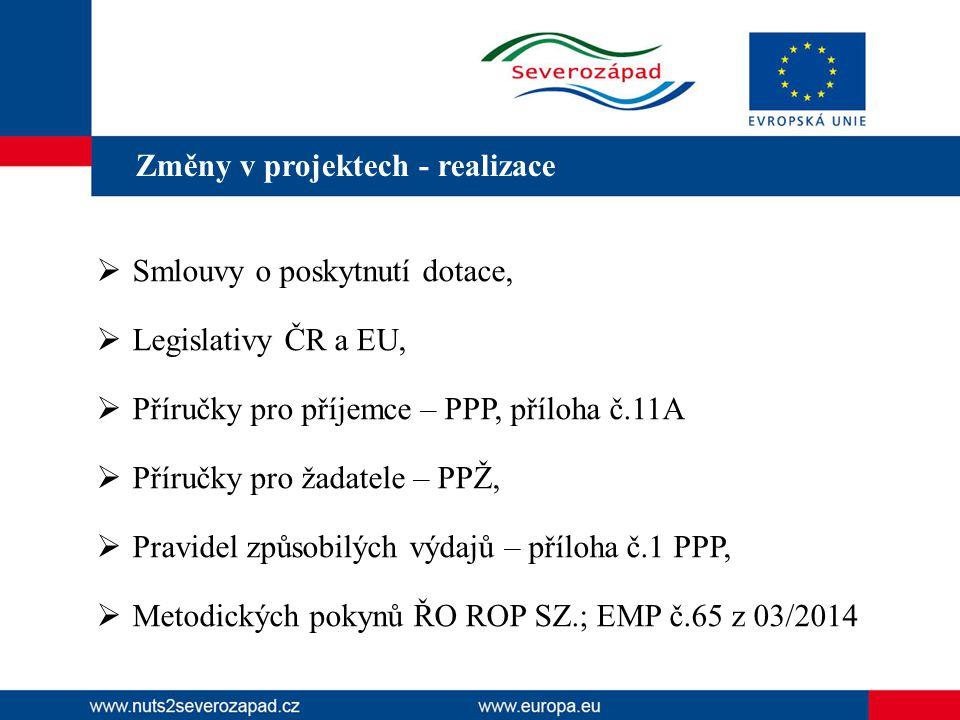 Změny v projektech - realizace  Smlouvy o poskytnutí dotace,  Legislativy ČR a EU,  Příručky pro příjemce – PPP, příloha č.11A  Příručky pro žadatele – PPŽ,  Pravidel způsobilých výdajů – příloha č.1 PPP,  Metodických pokynů ŘO ROP SZ.; EMP č.65 z 03/2014 http://www.nuts2severozapad.cz.
