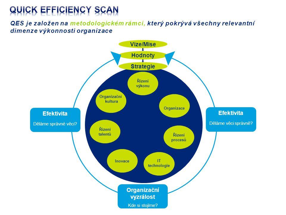 QES je založen na metodologickém rámci, který pokrývá všechny relevantní dimenze výkonnosti organizace Řízení výkonu Inovace Řízení procesů Řízení talentů Vize/Mise Hodnoty Strategie Efektivita Děláme správné věci.
