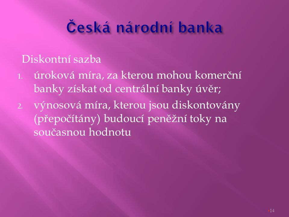 Diskontní sazba 1. úroková míra, za kterou mohou komerční banky získat od centrální banky úvěr; 2.
