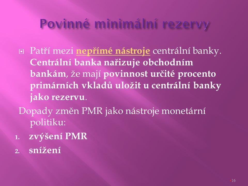  Patří mezi nepřímé nástroje centrální banky.