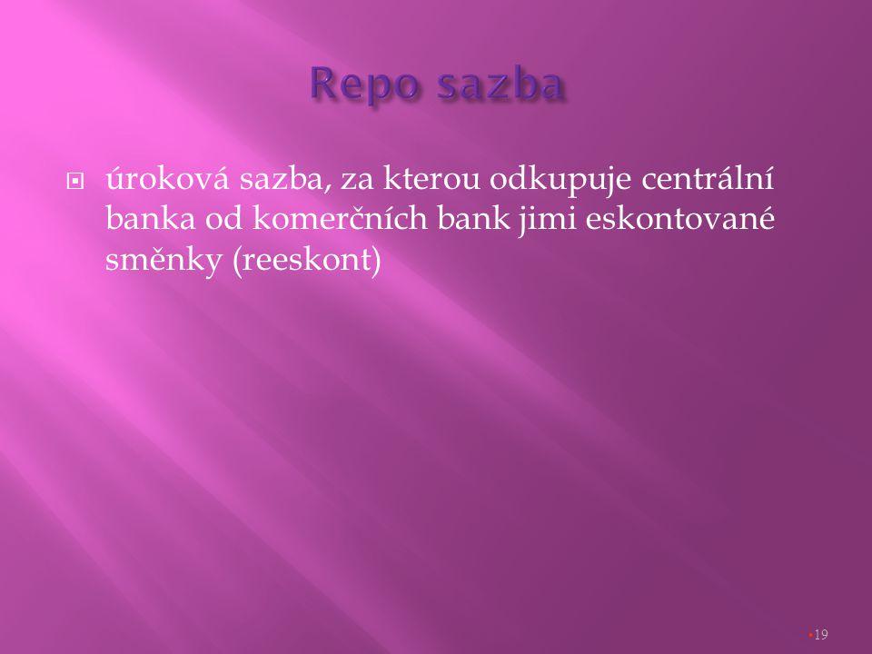  úroková sazba, za kterou odkupuje centrální banka od komerčních bank jimi eskontované směnky (reeskont) 19