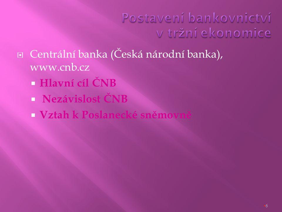  Centrální banka (Česká národní banka), www.cnb.cz  Hlavní cíl ČNB  Nezávislost ČNB  Vztah k Poslanecké sněmovně 6