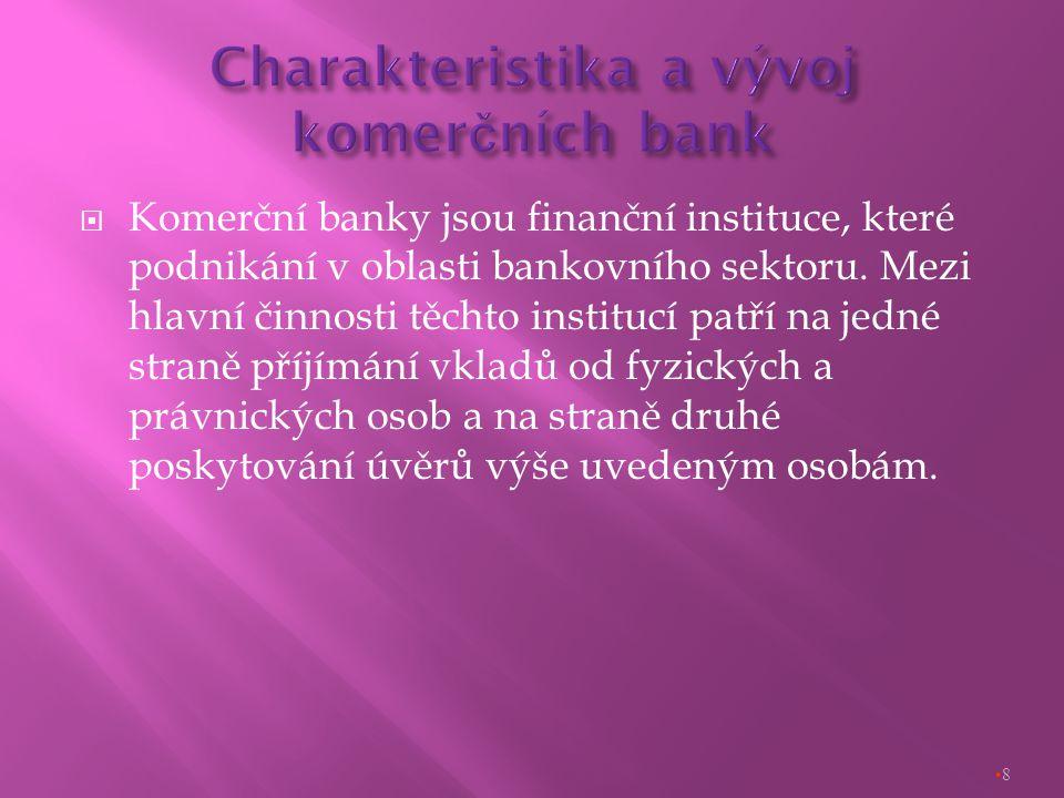  Komerční banky jsou finanční instituce, které podnikání v oblasti bankovního sektoru.