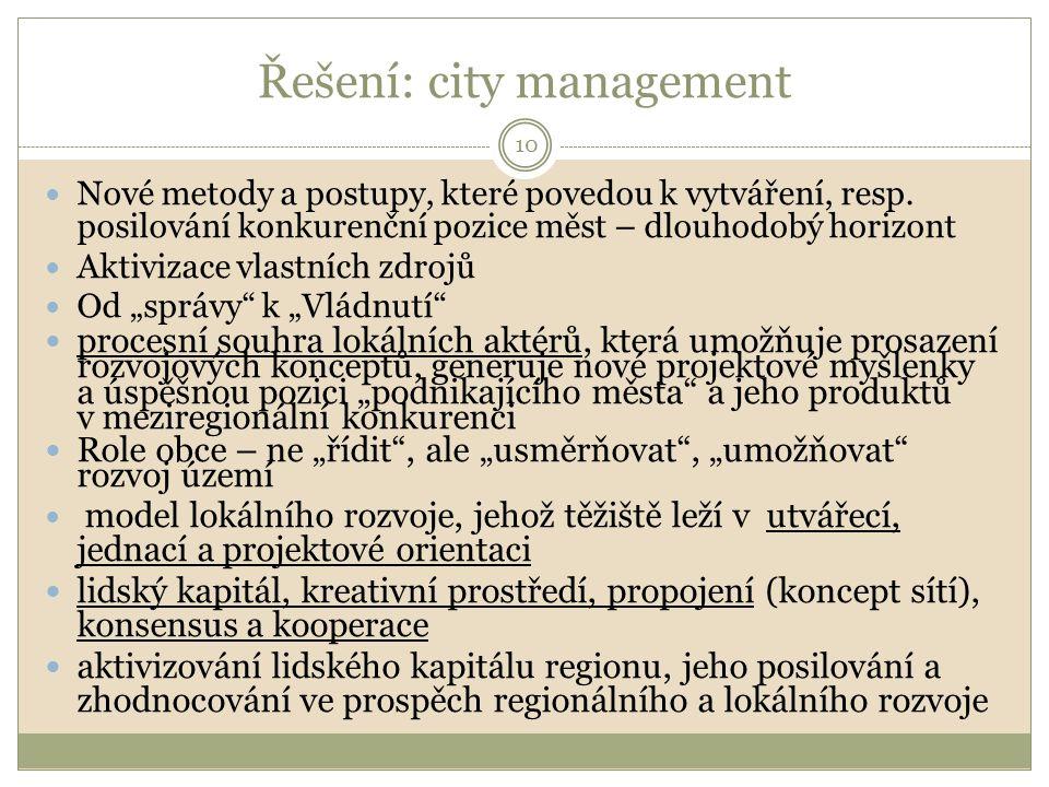 Řešení: city management Nové metody a postupy, které povedou k vytváření, resp. posilování konkurenční pozice měst – dlouhodobý horizont Aktivizace vl