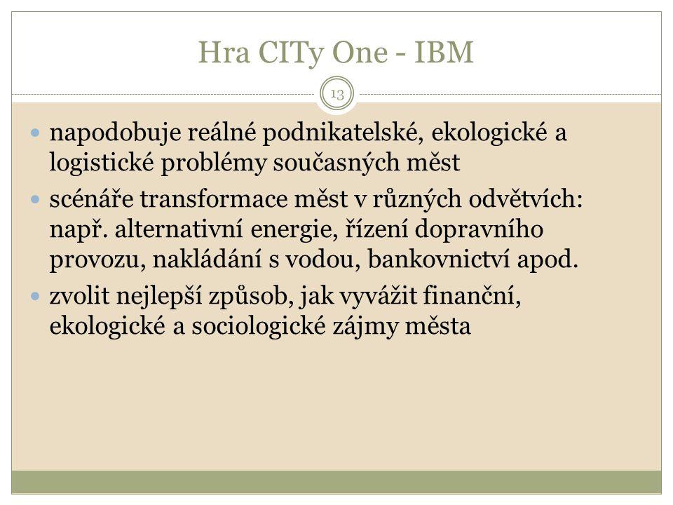 Hra CITy One - IBM 13 napodobuje reálné podnikatelské, ekologické a logistické problémy současných měst scénáře transformace měst v různých odvětvích: