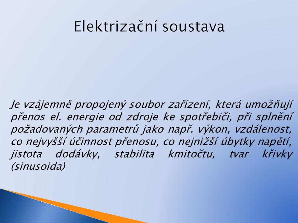 Je vzájemně propojený soubor zařízení, která umožňují přenos el. energie od zdroje ke spotřebiči, při splnění požadovaných parametrů jako např. výkon,