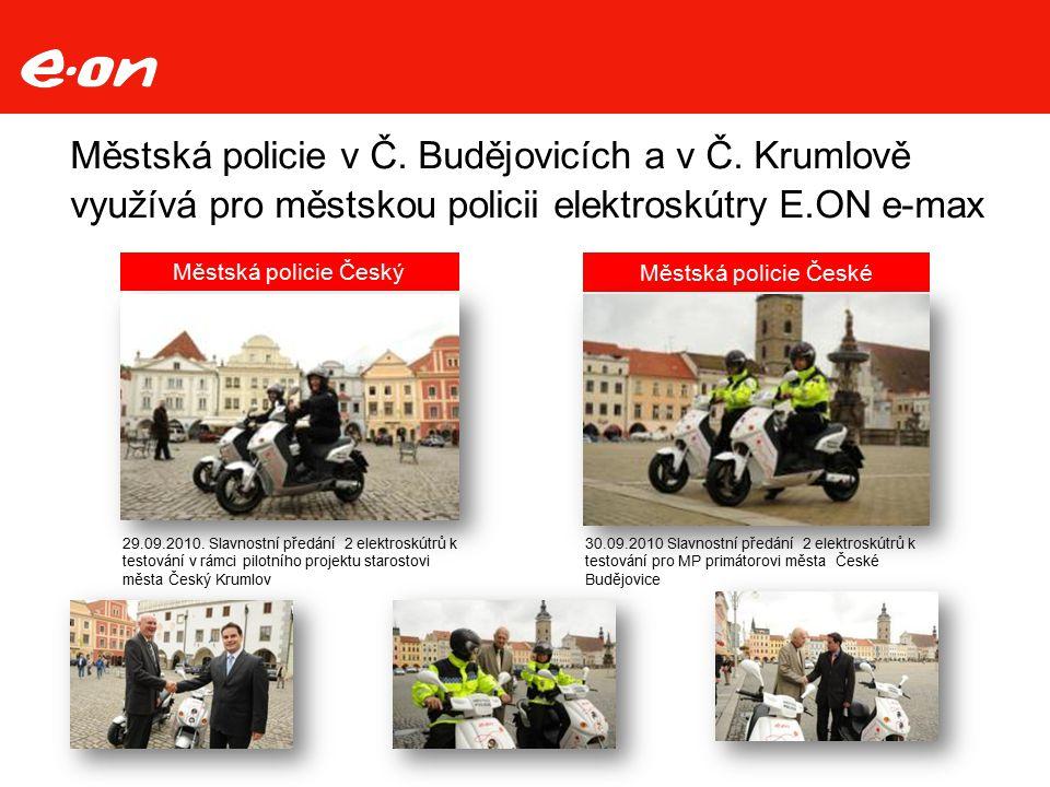 Městská policie v Č. Budějovicích a v Č. Krumlově využívá pro městskou policii elektroskútry E.ON e-max 29.09.2010. Slavnostní předání 2 elektroskútrů
