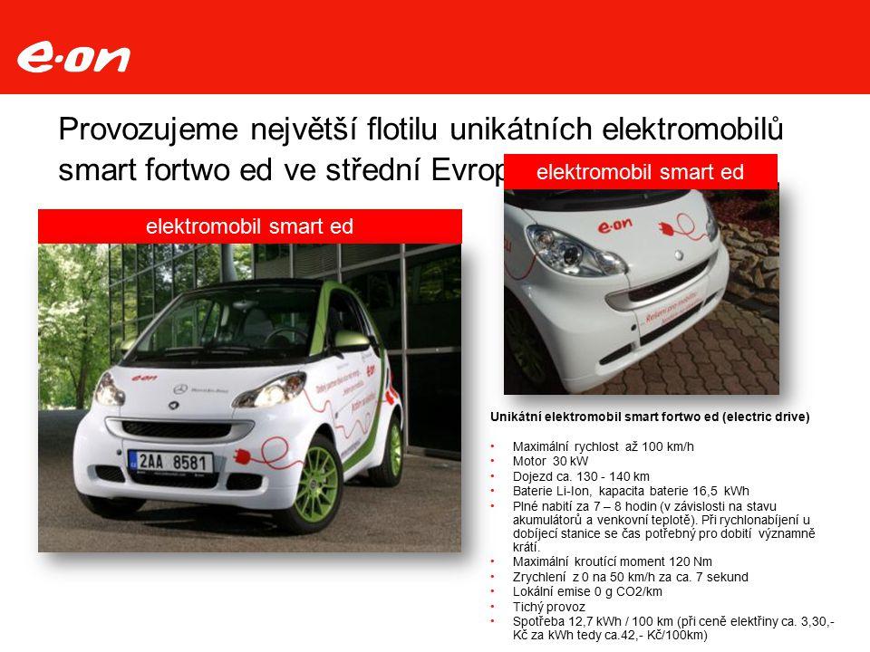 Provozujeme největší flotilu unikátních elektromobilů smart fortwo ed ve střední Evropě Unikátní elektromobil smart fortwo ed (electric drive) Maximální rychlost až 100 km/h Motor 30 kW Dojezd ca.