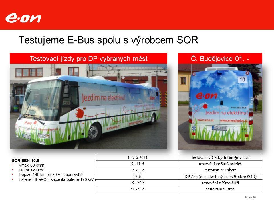 Testujeme E-Bus spolu s výrobcem SOR SOR EBN 10,5 Vmax 80 km/h Motor 120 kW Dojezd 140 km při 30 % stupni vybití Baterie LIFePO4, kapacita baterie 170 kWh Testovací jízdy pro DP vybraných městČ.