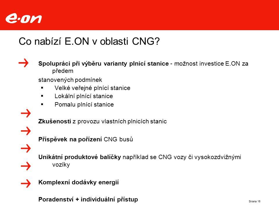 Co nabízí E.ON v oblasti CNG? Strana 16 Spolupráci při výběru varianty plnicí stanice - možnost investice E.ON za předem stanovených podmínek  Velké