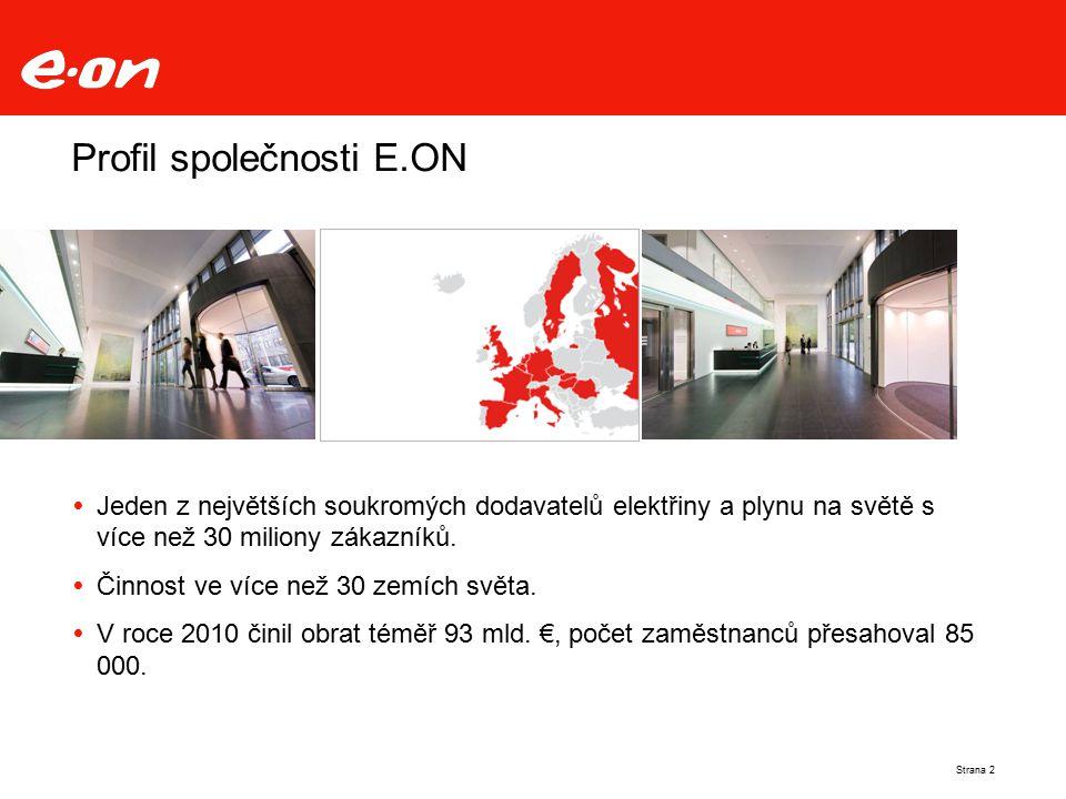 Profil společnosti E.ON  Jeden z největších soukromých dodavatelů elektřiny a plynu na světě s více než 30 miliony zákazníků.  Činnost ve více než 3