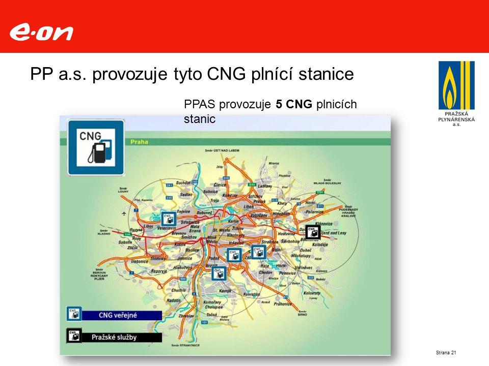 PP a.s. provozuje tyto CNG plnící stanice PPAS provozuje 5 CNG plnicích stanic Strana 21