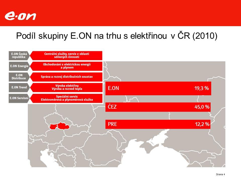 Podíl skupiny E.ON na trhu s elektřinou v ČR (2010) Strana 4