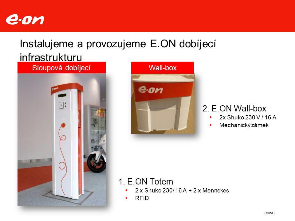Instalujeme a provozujeme E.ON dobíjecí infrastrukturu Strana 9 Sloupová dobíjecí stanice 2. E.ON Wall-box  2x Shuko 230 V / 16 A  Mechanický zámek