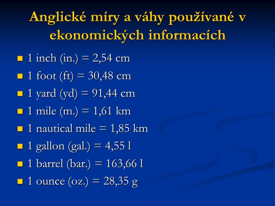 Anglické míry a váhy používané v ekonomických informacích 1 inch (in.) = 2,54 cm 1 inch (in.) = 2,54 cm 1 foot (ft) = 30,48 cm 1 foot (ft) = 30,48 cm 1 yard (yd) = 91,44 cm 1 yard (yd) = 91,44 cm 1 mile (m.) = 1,61 km 1 mile (m.) = 1,61 km 1 nautical mile = 1,85 km 1 nautical mile = 1,85 km 1 gallon (gal.) = 4,55 l 1 gallon (gal.) = 4,55 l 1 barrel (bar.) = 163,66 l 1 barrel (bar.) = 163,66 l 1 ounce (oz.) = 28,35 g 1 ounce (oz.) = 28,35 g
