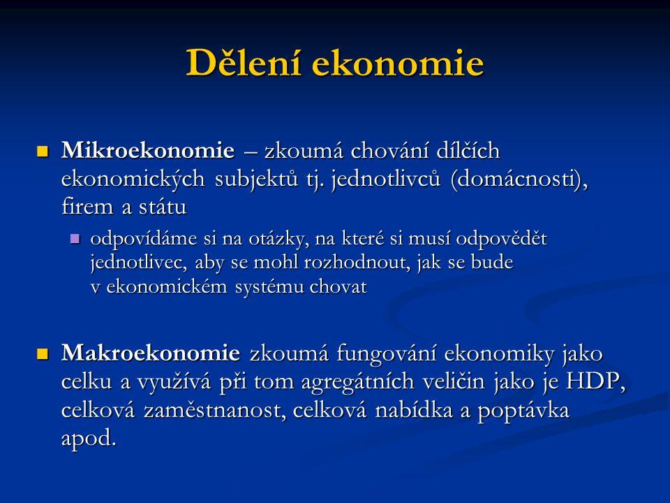 Dělení ekonomie Mikroekonomie – zkoumá chování dílčích ekonomických subjektů tj.