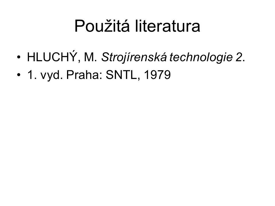 Použitá literatura HLUCHÝ, M. Strojírenská technologie 2. 1. vyd. Praha: SNTL, 1979