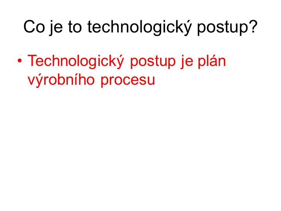 Co je to technologický postup? Technologický postup je plán výrobního procesu