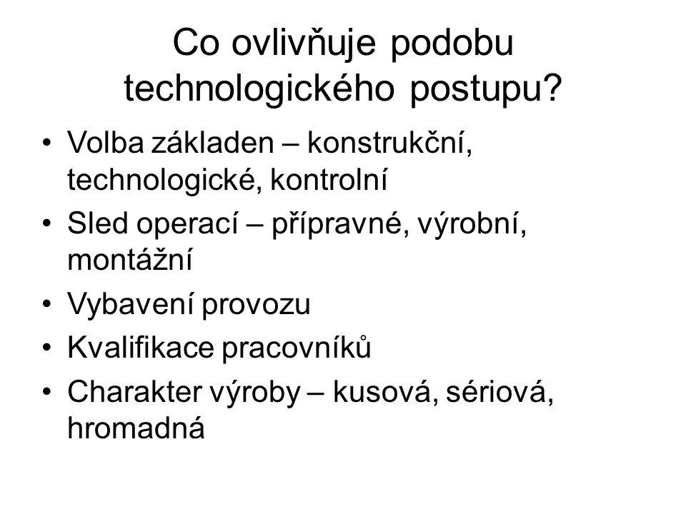 Co ovlivňuje podobu technologického postupu? Volba základen – konstrukční, technologické, kontrolní Sled operací – přípravné, výrobní, montážní Vybave