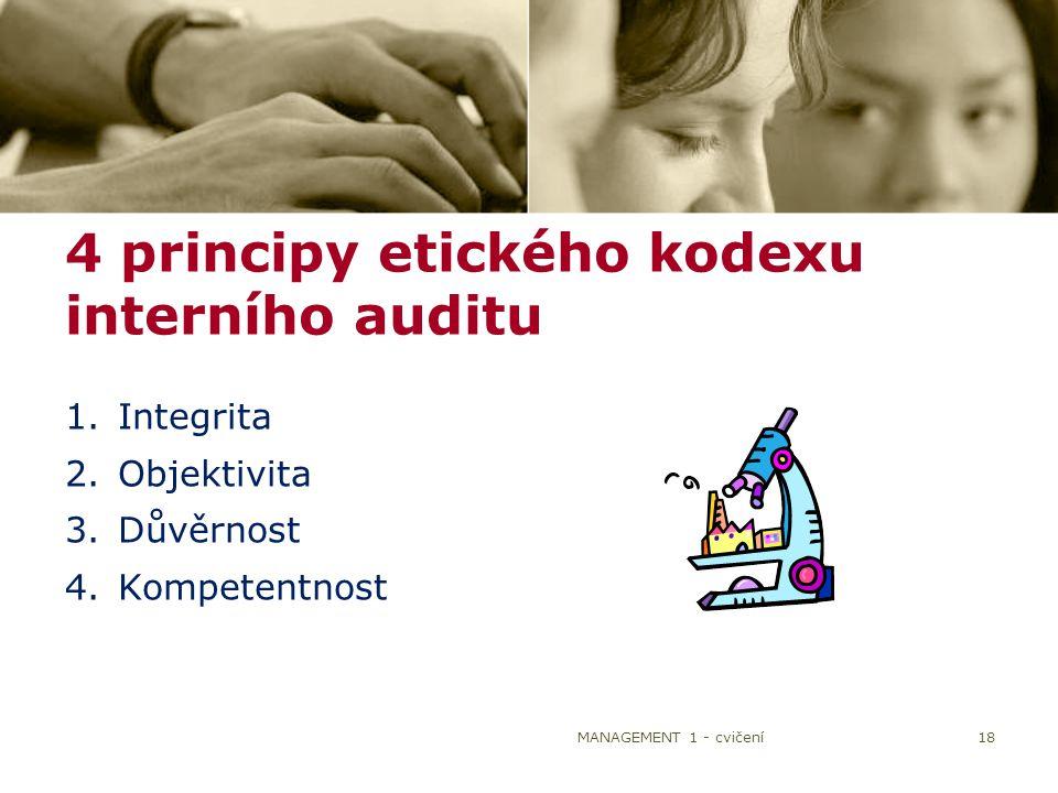 18 1.Integrita 2.Objektivita 3.Důvěrnost 4.Kompetentnost 4 principy etického kodexu interního auditu MANAGEMENT 1 - cvičení