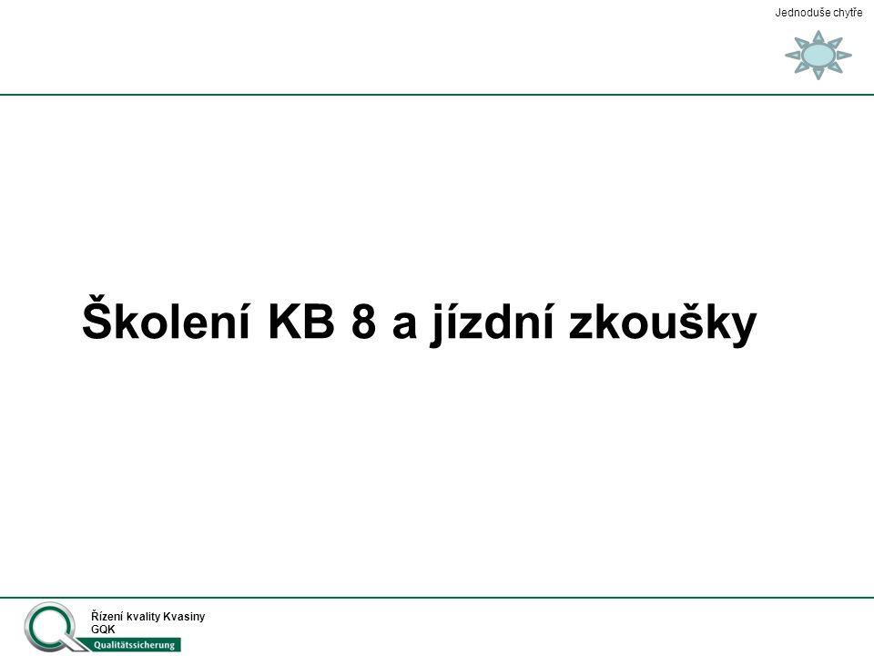 Jednoduše chytře Řízení kvality Kvasiny GQK Školení KB 8 a jízdní zkoušky